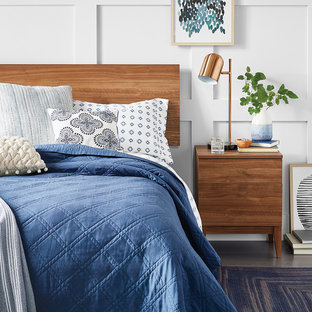 Inspiration for a mid-sized modern master dark wood floor and gray floor bedroom remodel in Minneapolis with white walls