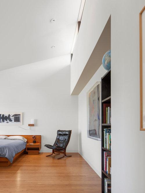 modern bedroom. Minimalist medium tone wood floor and brown bedroom photo in Los  Angeles with white walls Best 70 Modern Bedroom Ideas Houzz