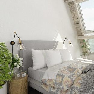 Modelo de habitación de invitados minimalista, de tamaño medio, con paredes blancas, suelo de contrachapado y suelo blanco