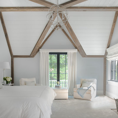 Bedroom - large transitional master carpeted and white floor bedroom idea in New York with a standard fireplace, a stone fireplace and white walls