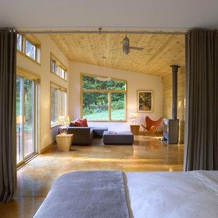 Foto de dormitorio minimalista con paredes blancas, suelo de cemento y estufa de leña