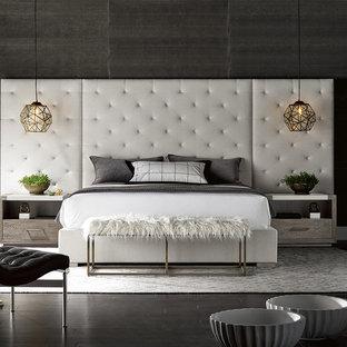 ヒューストンのモダンスタイルのおしゃれな寝室 (グレーの壁、濃色無垢フローリング、黒い床) のインテリア