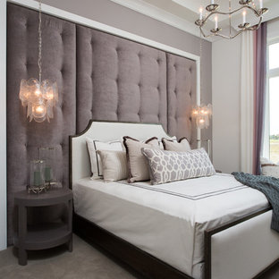Mid-sized transitional guest carpeted and gray floor bedroom photo in Miami with gray walls