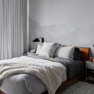 Example of a mid-sized trendy master bedroom design in Chicago with gray walls and no fireplace