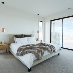 Mid-sized trendy carpeted and gray floor bedroom photo in Melbourne with white walls and no fireplace