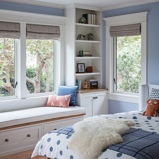 This is an example of a mid-sized arts and crafts guest bedroom in San Francisco with blue walls, medium hardwood floors, no fireplace and brown floor.