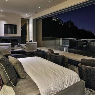 Пример оригинального дизайна: большая хозяйская спальня в стиле модернизм с белыми стенами, ковровым покрытием, горизонтальным камином и фасадом камина из металла