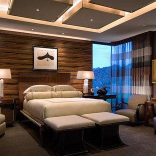 Идея дизайна: спальня в современном стиле с ковровым покрытием