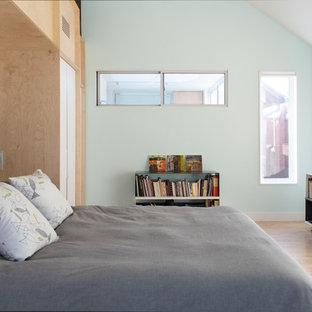 Bedroom - scandinavian light wood floor and beige floor bedroom idea in Kansas City with blue walls and no fireplace