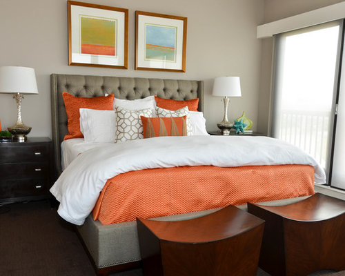 decorate a small bedroom orange bedding design ideas amp remodel pictures houzz 15094