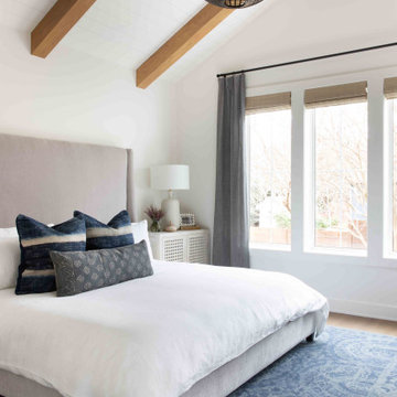 Modern Farmhouse Bedroom with Ceiling Beams