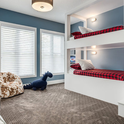 Inspiration for a large farmhouse carpeted and brown floor bedroom remodel in Calgary with blue walls