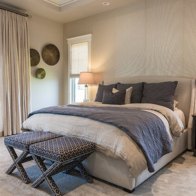 Bedroom - transitional carpeted bedroom idea in Denver with beige walls and no fireplace