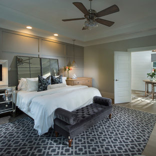 Inspiration for a transitional master bedroom remodel in Atlanta with gray walls