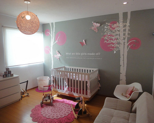 Modern girls nursery home design ideas pictures remodel - Decoration chambre de bebe fille ...