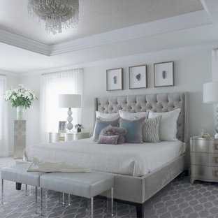 Bedroom - transitional master bedroom idea in New York with white walls