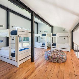 Foto de dormitorio tipo loft, moderno, grande, con paredes blancas, suelo de madera clara y marco de chimenea de piedra
