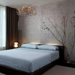 シカゴのコンテンポラリースタイルのおしゃれな寝室 (グレーの壁、カーペット敷き、暖炉なし) のインテリア