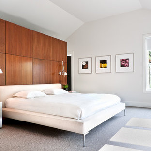 Inspiration for a large contemporary master carpeted bedroom remodel in Los Angeles with white walls and no fireplace