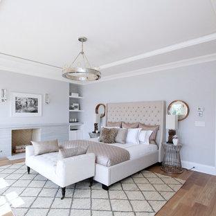 Ispirazione per una grande camera matrimoniale minimalista con pareti grigie, parquet chiaro, camino classico e cornice del camino in pietra