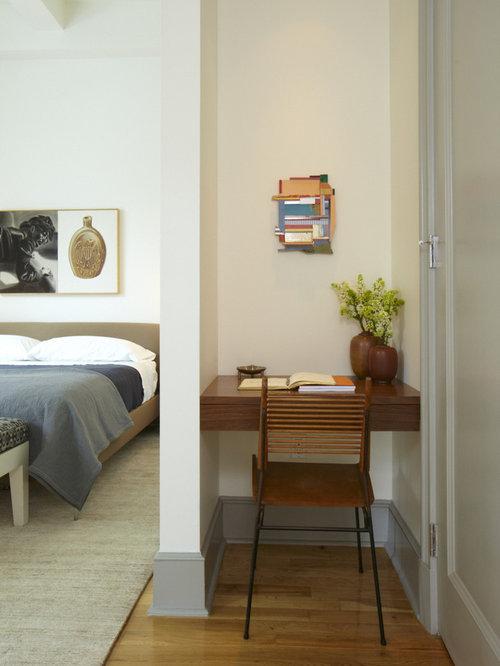 Bedroom   Modern Medium Tone Wood Floor Bedroom Idea In San Francisco With  Beige Walls