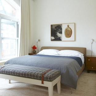 Example of a minimalist bedroom design in San Francisco with white walls