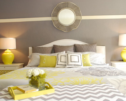 Yellow And Gray Bedroom Magnificent Yellow And Gray Bedroom  Houzz Design Inspiration