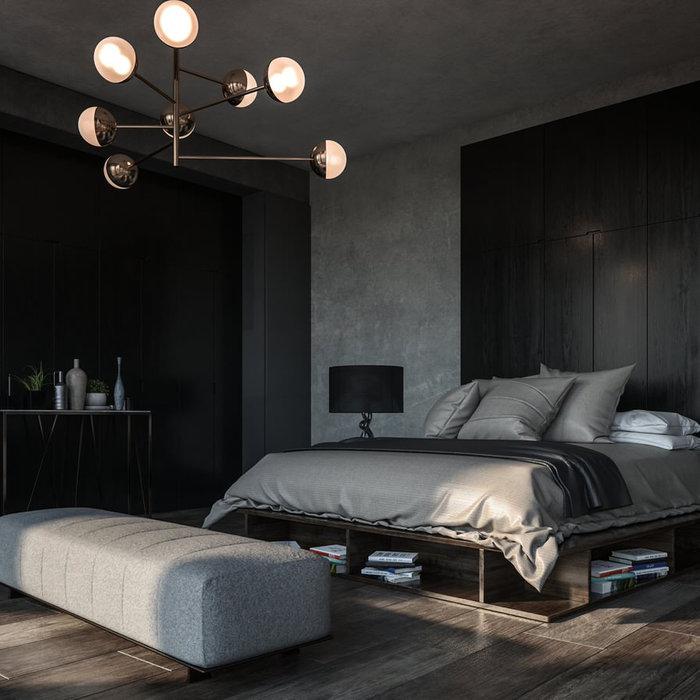 Black accent wall Master bedroom Amagansett