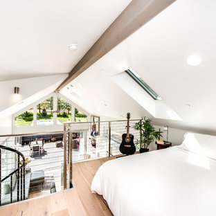 Example of a small trendy loft-style light wood floor bedroom design in Denver with white walls and no fireplace