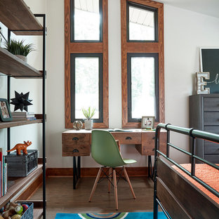 Inspiration for a mid-sized rustic guest medium tone wood floor and brown floor bedroom remodel in Richmond with white walls and no fireplace