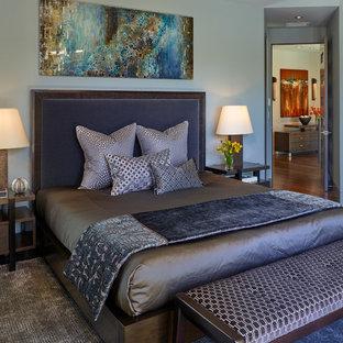 サンフランシスコの大きいコンテンポラリースタイルのおしゃれな主寝室 (青い壁、濃色無垢フローリング、横長型暖炉、木材の暖炉まわり) のインテリア