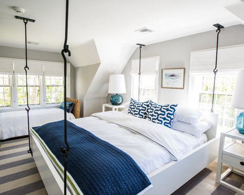 grey blue bedroom. Coastal bedroom photo in Boston with gray walls Grey Blue Bedroom  Houzz