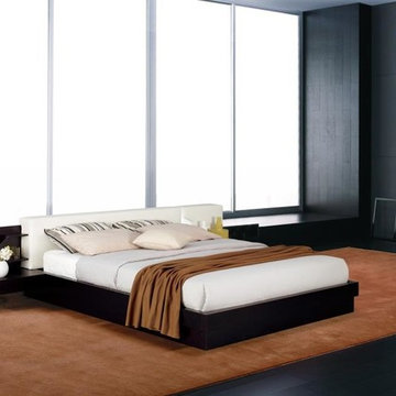 Modern Platform Bed w/ Air-Lift Storage and Built in Rail Nightstands