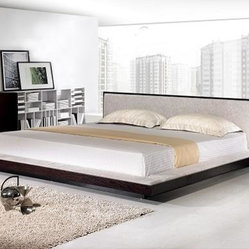 Comfy Modern Platform Bed with Fabric Headboard