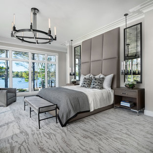 Transitional carpeted and beige floor bedroom photo in Detroit with beige walls