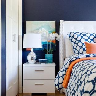 Diseño de dormitorio principal, minimalista, de tamaño medio, sin chimenea, con paredes azules y suelo vinílico