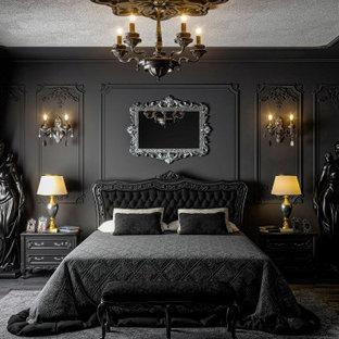 Idées déco pour une grand chambre parentale victorienne avec un mur noir, un sol en carrelage de céramique, aucune cheminée, un sol noir, un plafond décaissé et boiseries.