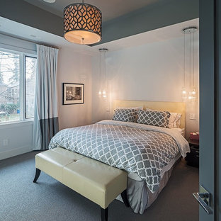 Photo of a mid-sized contemporary master bedroom in Toronto with white walls, carpet, no fireplace and grey floor.
