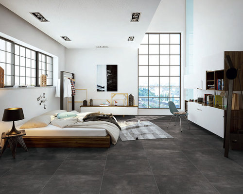 schlafzimmer im loft style mit porzellan bodenfliesen ideen design bilder. Black Bedroom Furniture Sets. Home Design Ideas