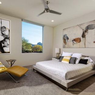 Modelo de habitación de invitados actual, grande, sin chimenea, con paredes blancas y suelo de baldosas de porcelana