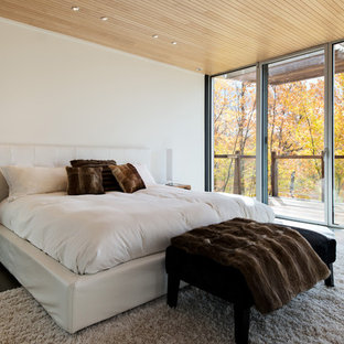 Example of a trendy dark wood floor bedroom design in Montreal with white walls