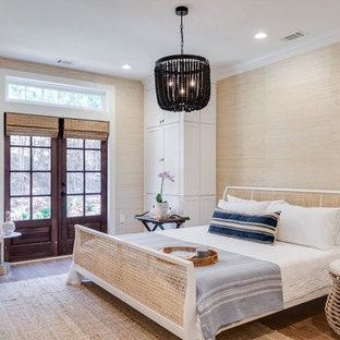 Example of a transitional bedroom design in Houston