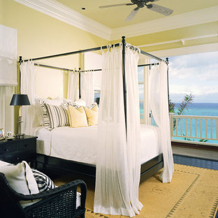 Design ideas for a traditional bedroom in Hawaii with dark hardwood floors.