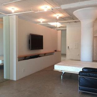 Esempio di una piccola camera matrimoniale contemporanea con pareti bianche, pavimento in cemento, camino sospeso e pavimento grigio