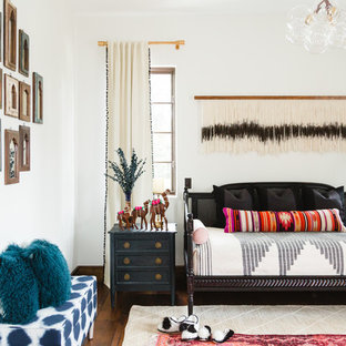 Bedroom - large eclectic guest dark wood floor and brown floor bedroom idea in San Diego with white walls and no fireplace