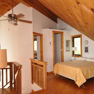 Modelo de dormitorio tipo loft, rural, pequeño, con paredes blancas, suelo de madera clara, chimenea tradicional y marco de chimenea de piedra