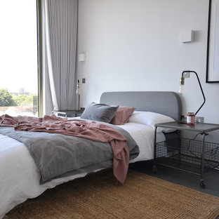 Design Ideas For A Medium Sized Scandinavian Guest Bedroom In London With  White Walls And Grey