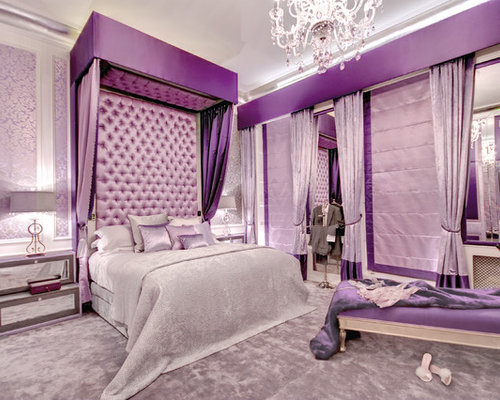 Superior Large Contemporary Master Carpeted Bedroom Idea In London With Purple Walls