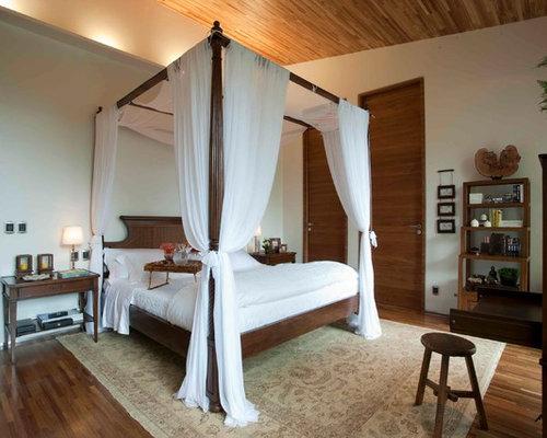 Chambre En Bois Exotique : Tropical King Canopy Bed