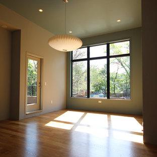 Foto de dormitorio minimalista, sin chimenea, con paredes verdes y suelo de madera clara